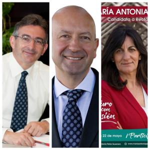 Imagen de las tres candidaturas al Rectorado en esta jornada.