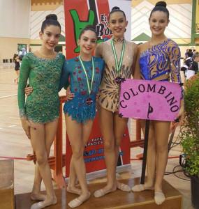Paola, Clara, Ángela y Bella, en el podio.