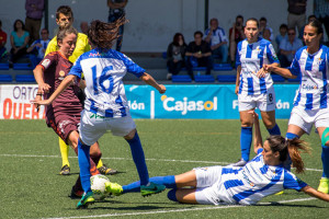 Tuvo que emplearse a fondo el equipo de Huelva para nivelar el 0-2 con el que se llegó al descanso. / Foto: www.lfp.es.