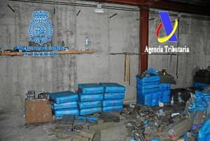 La droga se incautó en el interior de una nave industrial de la localidad de Cartaya.