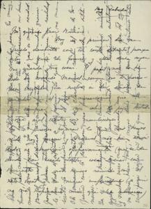 Carta de Zenobia a Juan Ramón (1915), escrita en vertical y horizontal para ahorrar papel y coste de correos. Sala Zenobia-Juan Ramón, Universidad de Puerto Rico.