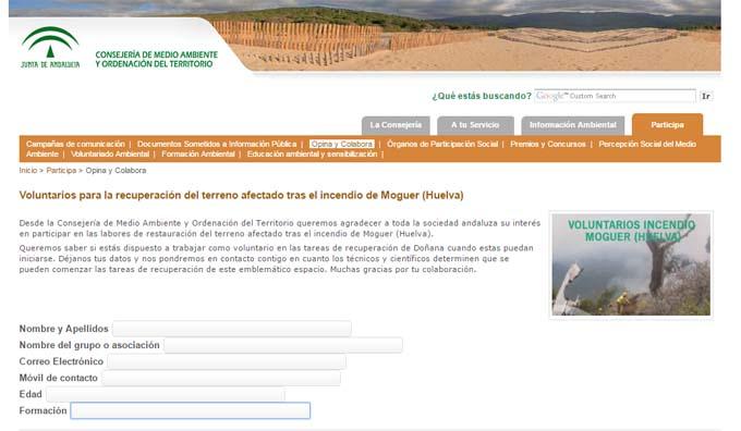 Habilitan un formulario para canalizar la participación ciudadana en la regeneración de la zona afectada por el incendio de Moguer
