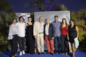 Foto de grupo con los invitados asistentes al Festival. De izquierda a derecha: Luichi Macías, Adrián Salcedo, Marta Nieto, Jaime Chávarri, Emilio Gutiérrez Caba, Jacobo Dicenta, Dulcinea Juárez y Carmen Frigolet.