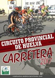 Cartel del Circuito Provincial de Huelva de Carretera para Escuelas y Cadetes.