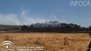 Incendio forestal en el paraje Cañada del Corcho, en Gibraleón.