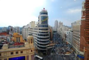 Vista panorámica de la Plaza del Callao, en Madrid.