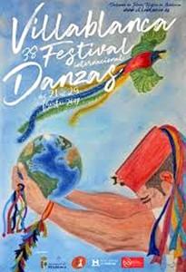 Cartel anunciador del 38 Festival Internacional de Danzas de Villablanca, obra de Juan Barea Jiménez.