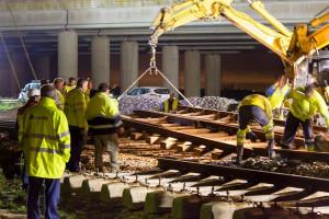 Construcción de la nueva estación de tren en Las Metas. / Foto: Asociación de Amigos del Ferrocarril de Huelva.