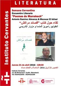 Cartel de un acto celebrado en el Instituto Cervantes con la participación de Ramíez Almanza.