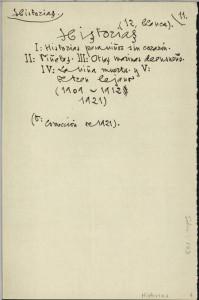 Esquema del Manuscrito de 'Historias'. / Foto: Fundación J. M. Lara.