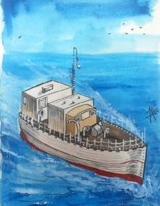 Dibujo de Ángel Martínez Rodríguez basado en la fotografía del Sea Kayen.