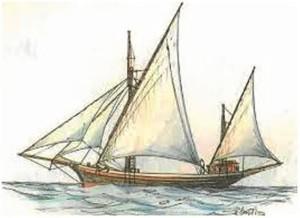 La marinera silueta de un falucho surcando los mares.