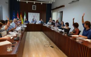 Votación durante la sesión plenaria en el Ayuntamiento de Cartaya.