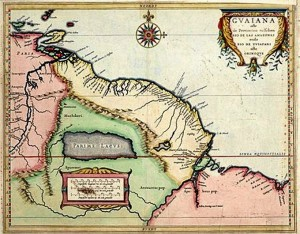 Lago Parima y la ciudad de El Dorado en un mapa de 1625./ Foto: wikipedia.org.