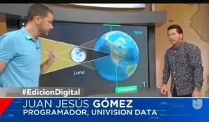 Juan Jesús, explicando los detalles de la herramienta en la televisión. / Foto: Univisión.