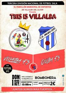 Cartel del derbi entre el Villalba FS y el CD Onuba Autoparts de este domingo.