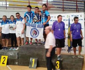 Daniel Riveros, Sergio Portillo y Daniel Arias en el podio como campeones de Andalucía.
