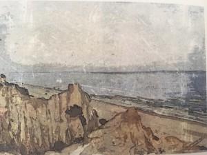 El viaje finaliza en las Dunas de Mazagón, tal y como se muestra en una de las obras de María José Cumbreras incluidas en el libro.