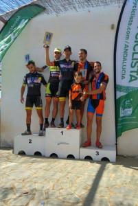 Podio de la prueba ciclista celebrada en Paymogo. / Foto: Federación Andaluza de Ciclismo.