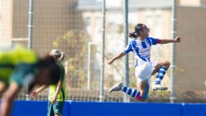 Anita celebra el gol que anotó y que sirvió para abrir el marcador. / Foto: www.laliga.es.