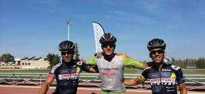 Podio masculina en la prueba ciclista celebrada en Nerva. / Foto: Federación Andaluza de Ciclismo.