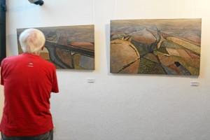El blanco y negro, los colores verdosos, azulados, rojizos, ocres y tierra están muy presente en sus obras.