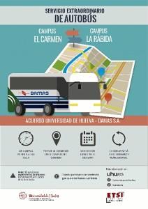 El Campus de El Carmen de la Universidad de Huelva contará a partir del próximo lunes 16 de octubre con un nuevo servicio de autobuses que conectará este campus con el campus de La Rábida.