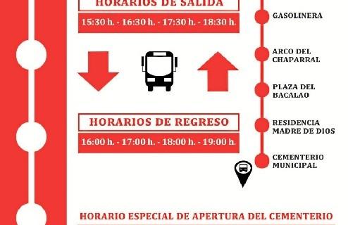 Almonte pone en marcha un servicio de autobús gratuito hacia el cementerio y amplía su horario