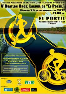 Cartel del V Duatlón Cros 'Laguna de El Portil' que tendrá lugar el 25 de noviembre.