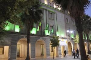 La fachada de la Diputación iluminada de verde.