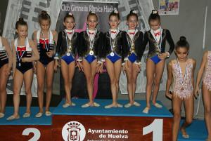Una de las medallas de oro logradas por el GR Huelva en el torneo que ejerció como anfitrión.