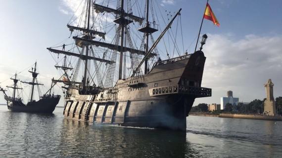El Galeón Andalucía, la Nao Victoria y la Carabela Boa Esperanza, juntos por primera vez en Huelva