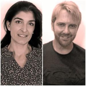 Los maestros onubenses Rocío Ruiz, y Luis Anes.
