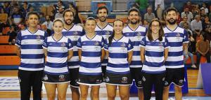 Formación del equipo onubense en el partido en casa ante el CB Oviedo.