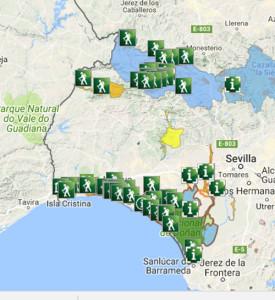 Mapa en el que aprecian los senderos señalizados de la provincia.