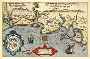 Zee Custen van Andaluzien… Andaluziae orae maritimae…, Lucas J. Waghenaer, grabado, Leiden, 1583 (1588).