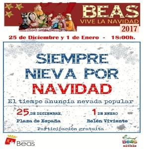 Cartel de las nevadas en Beas.