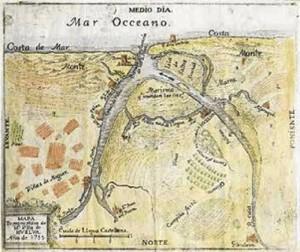 Mapa Topographico de la Villa de Huelva, Joseph Antonio de Armona, grabado, Sevilla, 1755.