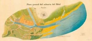 Plano general del estuario del Odiel, Francisco Montenegro, el Ingeniero Director, Huelva, impreso en Valencia, 1922.