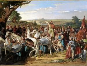 'El rey don Rodrigo arengando a sus tropas en la Batalla de Guadalete', óleo de Bernardo Blanco y Pérez, expuesto en el Museo del Prado.