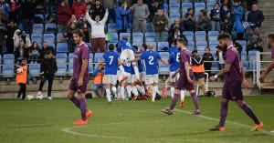Los albiazules celebran el gol anotado por Rafa de Vicente. / Foto: Pablo Sayago.