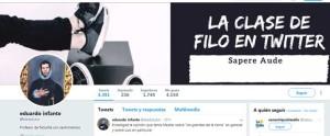 Perfil de Eduardo en Twitter a través del que lanza juegos y retos a sus alumnos con el hashtag #filoreto. / Foto: Twitter.