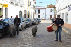 La figura del tamborilero y los operarios municipales es fundamental para el paseo de los cochinos por las calles del pueblo.