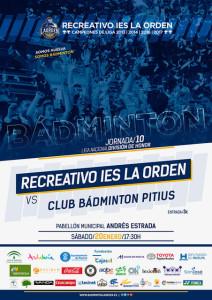Cartel del partido del sábado entre el Recre IES La Orden y el Pitiús.
