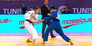 Cinta García en su combate de segunda ronda con la uzbeka Keldiyorova. / Foto: Captura TV.