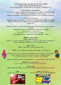 Programación de las Fiestas de San Vicente Mártir.
