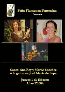 Cartel del espectáculo este viernes en la Peña Flamenca Femenina de Huelva.