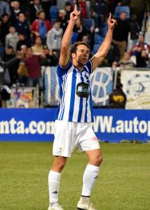 Boris celebra el gol que sentenció el partido ante el Badajoz. / Foto. Pablo Sayago.