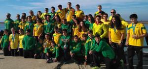 Deportistas del Club Piragüismo Tartessos que tomaron parte en la prueba celebrada en Puerto Real.