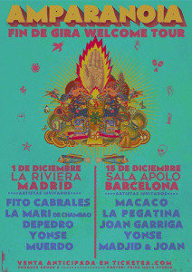 Cartel de uno de los conciertos de la actual gira de Amparanoia, con Yonse entre los artistas invitados.